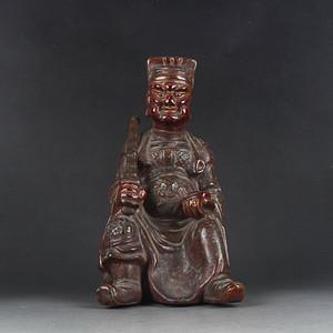 清代古铜釉财神像摆件