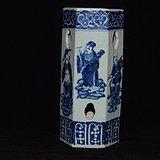 清代中期精美青花六方八仙人物帽筒