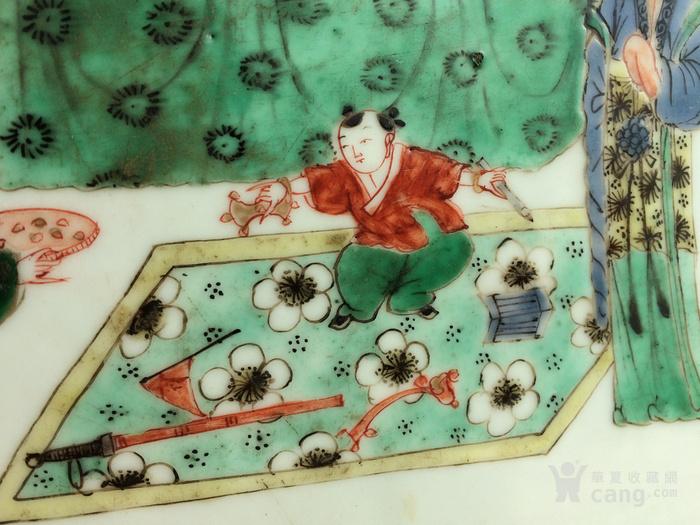 康熙五彩抓周花卉双面瓷板图3