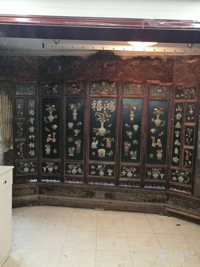 清代   红木镶玉石雕八宝龙大屏风图1