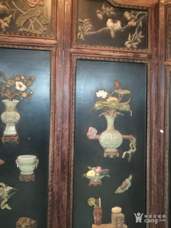 清代   红木镶玉石雕八宝龙大屏风图7