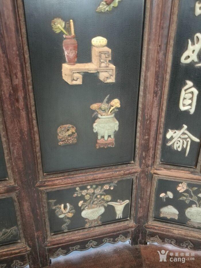清代   红木镶玉石雕八宝龙大屏风图8