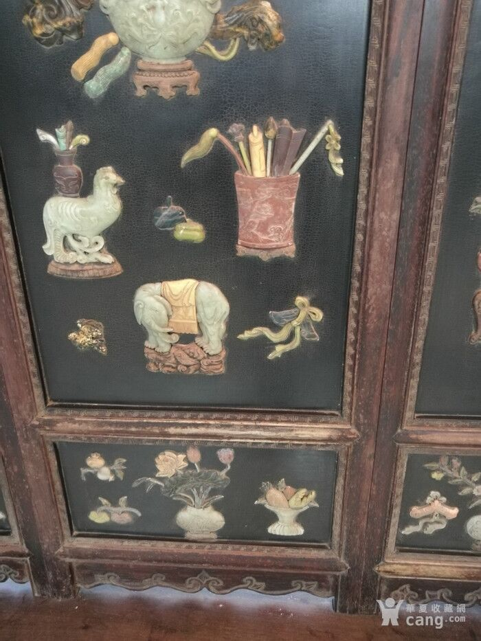 清代   红木镶玉石雕八宝龙大屏风图10