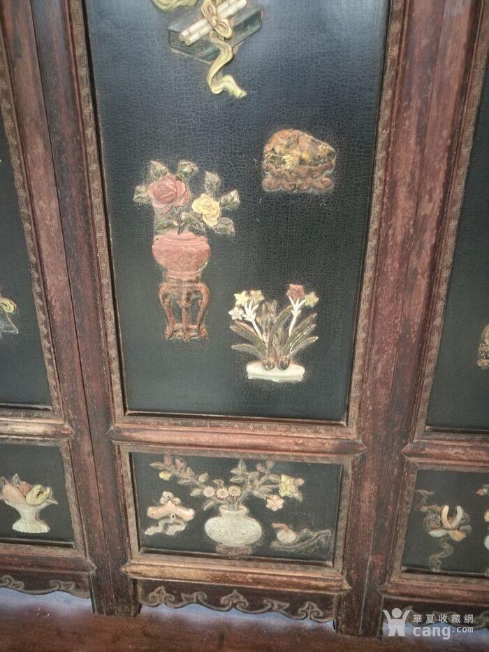 清代   红木镶玉石雕八宝龙大屏风图9