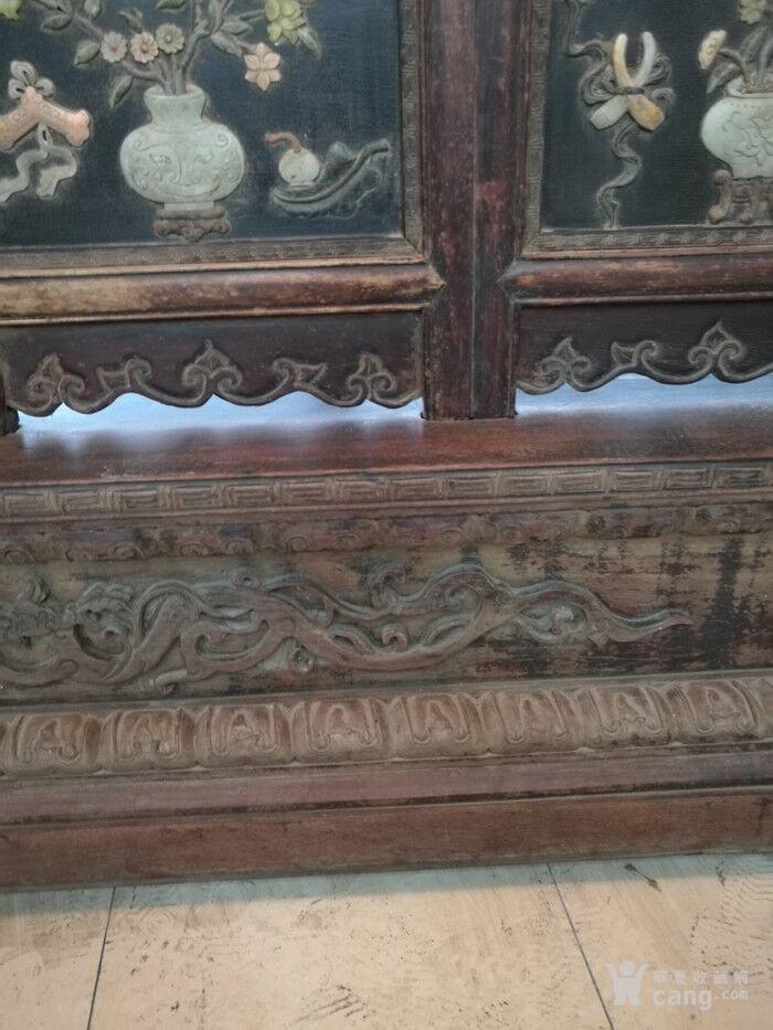 清代   红木镶玉石雕八宝龙大屏风图11