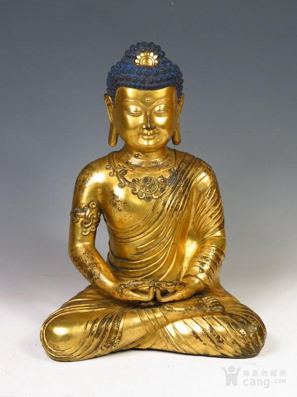 明代    紫铜鎏金佛祖像一尊-图1