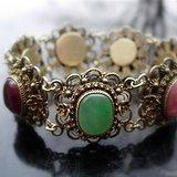 欧洲回流 创汇时期银鎏金老掐丝嵌翡翠碧玺水晶珊瑚等八宝手链