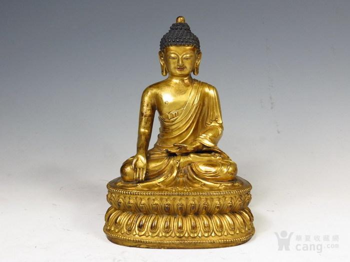 清早期    紫铜鎏金坐莲花座释迦牟尼佛-图2