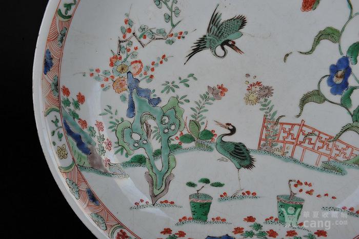 华夏古玩城 瓷器 明清 > 清康熙 五彩仙鹤花卉纹大盘