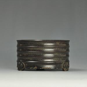 清代紫檀木雕弦纹香炉