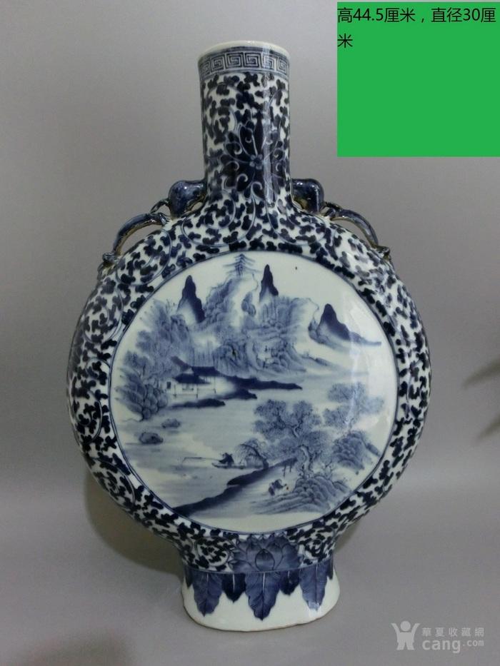 清珍珠青花花卉纹开光粉彩人物故事梅瓶高32厘米图1