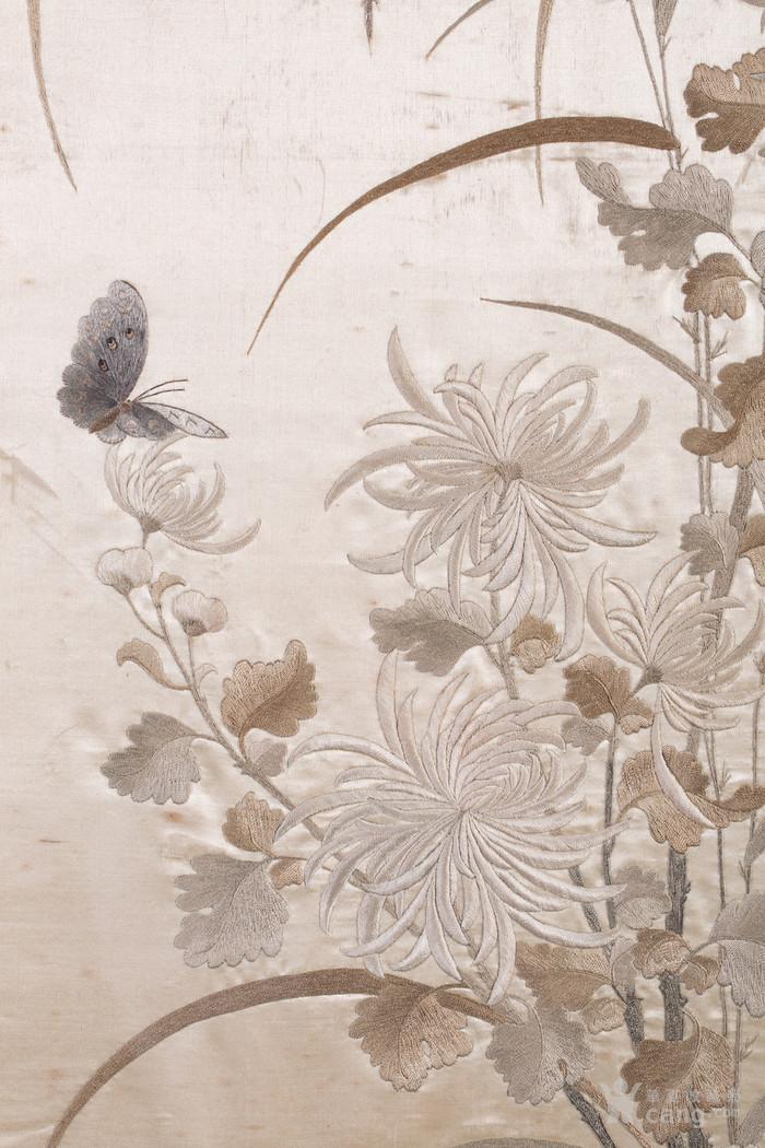 清代 刺绣花鸟挂屏一对-图7