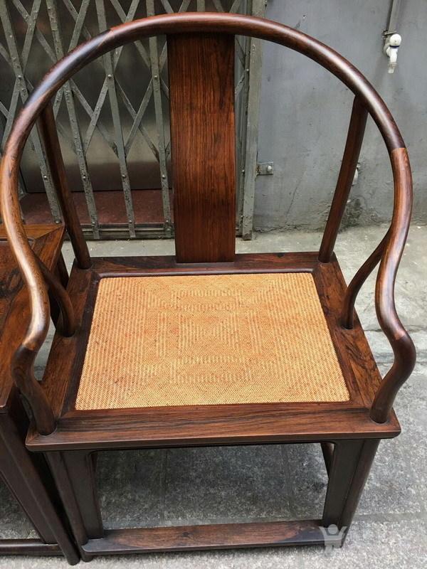 【正宗黄花梨】清代   明式海南黄花梨藤面圈椅图5