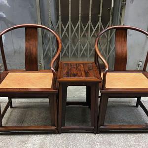 【正宗黄花梨】清代   明式海南黄花梨藤面圈椅