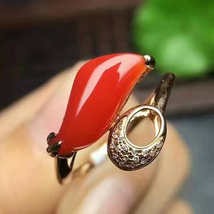天然沙丁红珊瑚随行戒指※绝美经典※