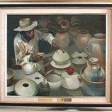 当代-油画家-傅红-《制陶的藏民》