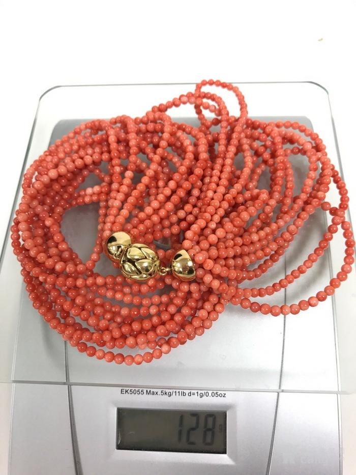 纯天然无染色粉红色珊瑚多串项链#图1