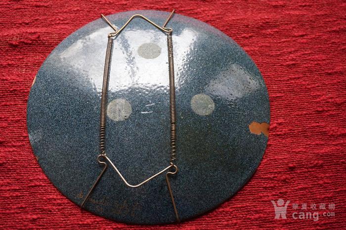 欧洲手绘精美铜胎珐琅盘带签名图5