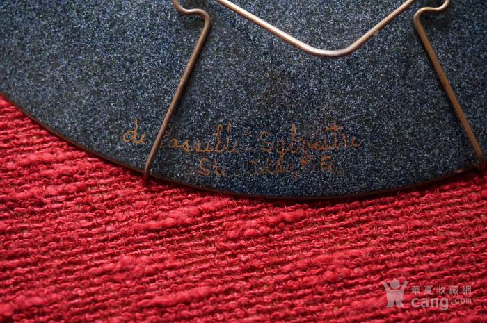欧洲手绘精美铜胎珐琅盘带签名图6
