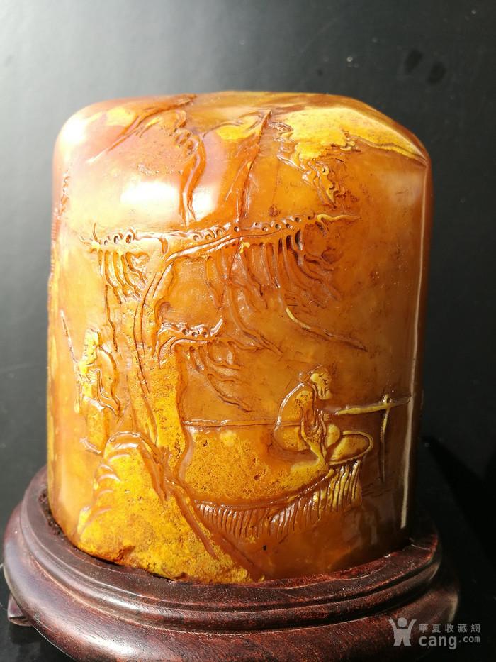 清,林友竹作寿山田黄石(证书)薄意雕摆件+印章:2747克图1