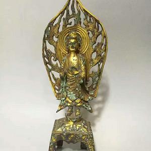 北魏时期铜鎏金板凳佛