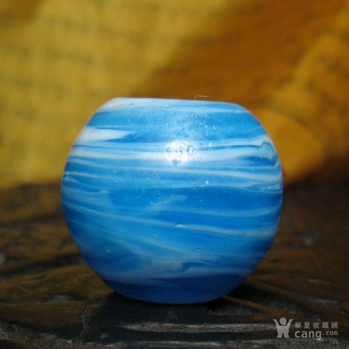 30091老搅胎缠丝琉璃桶珠14mm图1