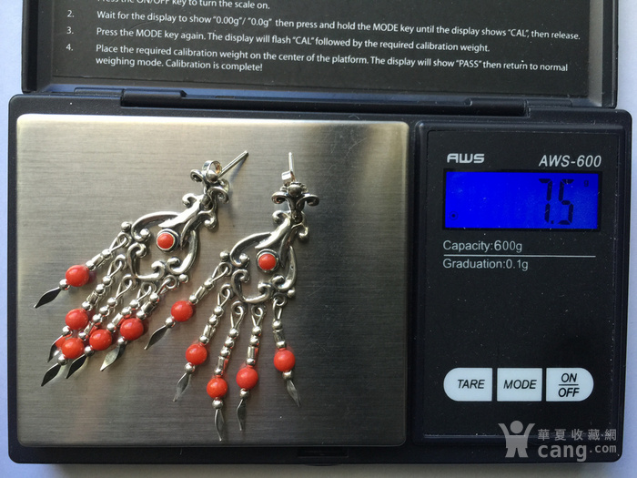 N2980 异域风情阿卡红珊瑚纯银耳坠图12
