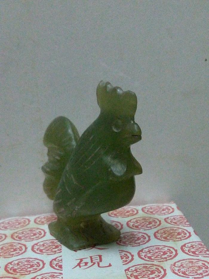 玛瑙淡绿手工生肖大冠公鸡图2