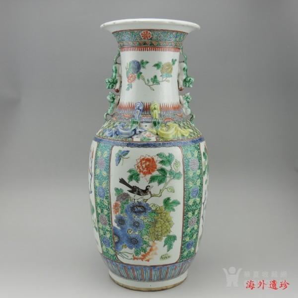 清代 五彩花鸟纹堆塑螭龙狮耳 大瓶 44.5厘米图1