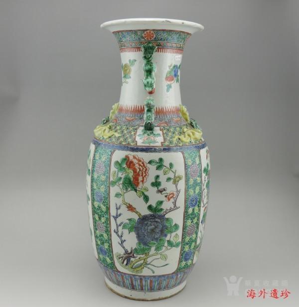 清代 五彩花鸟纹堆塑螭龙狮耳 大瓶 44.5厘米图4