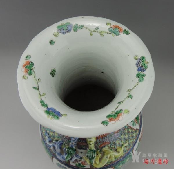 清代 五彩花鸟纹堆塑螭龙狮耳 大瓶 44.5厘米图8