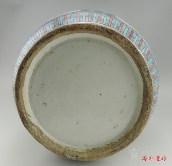 清代 五彩花鸟纹堆塑螭龙狮耳 大瓶 44.5厘米图9