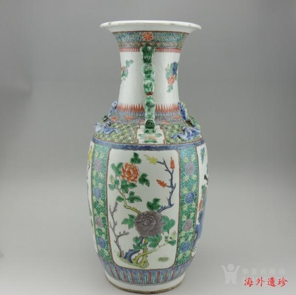 清代 五彩花鸟纹堆塑螭龙狮耳 大瓶 44.5厘米图12