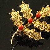 西洋老首饰 掐丝银镀金叶瓣胸针三有机宝石 优雅美款藏戴