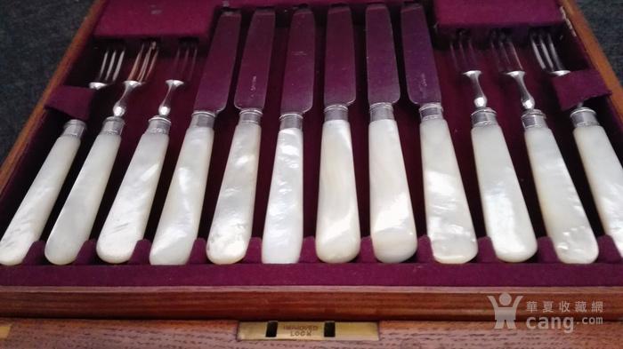 到货国内   英国1911年天然云贝母镀银刀叉餐具图2