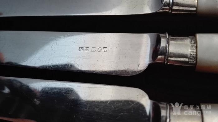 到货国内   英国1911年天然云贝母镀银刀叉餐具图5