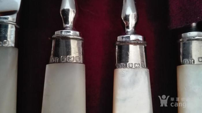 到货国内   英国1911年天然云贝母镀银刀叉餐具图7