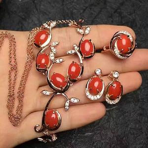纯天然沙丁红珊瑚套装项链戒指耳环※豪华精品※