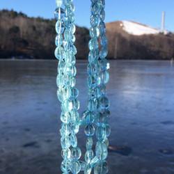 18K金 4排 天然 海蓝宝 原装 项链,不议价。
