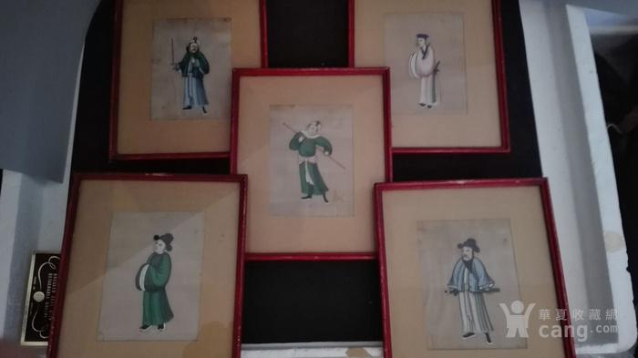 到货国内   晚清广州出口人物通草画5幅套件图1