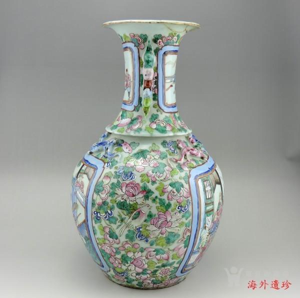 清代 中晚期 粉彩刀马人物堆塑螭龙狮耳大瓶图3