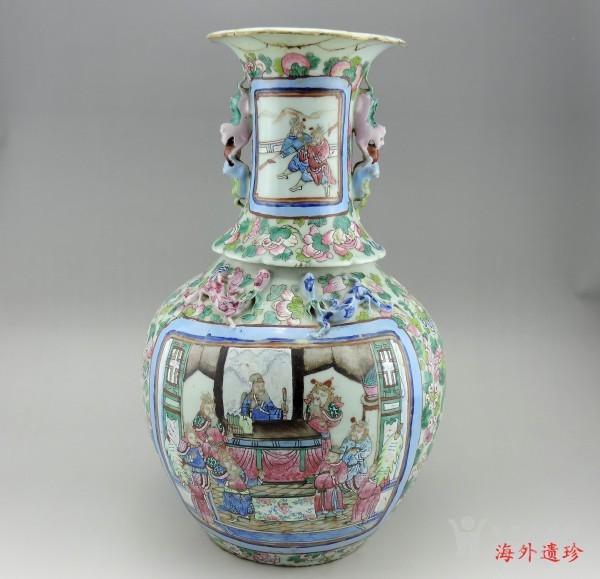 清代 中晚期 粉彩刀马人物堆塑螭龙狮耳大瓶图4