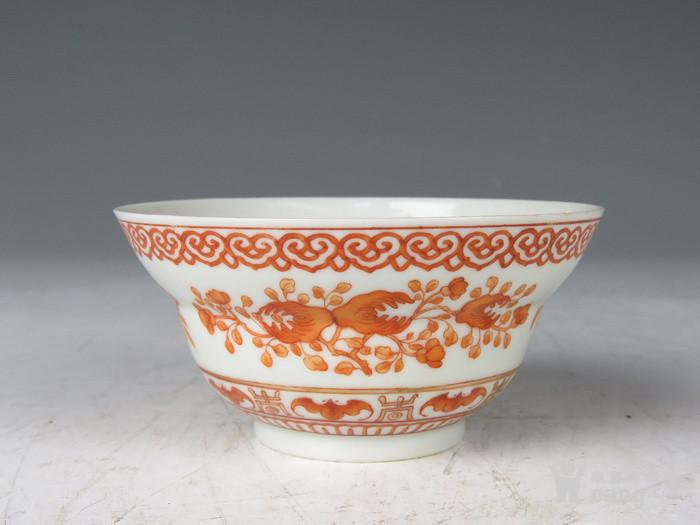 清 嘉庆年制款矾红三多纹折腰碗图1