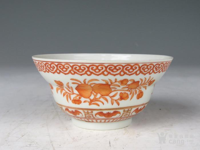 清 嘉庆年制款矾红三多纹折腰碗图3