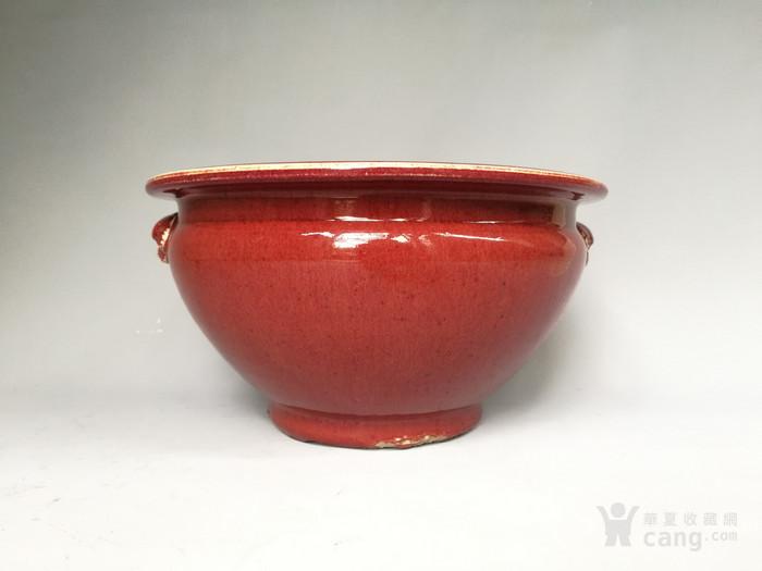 清中期 红釉双狮耳香炉图1