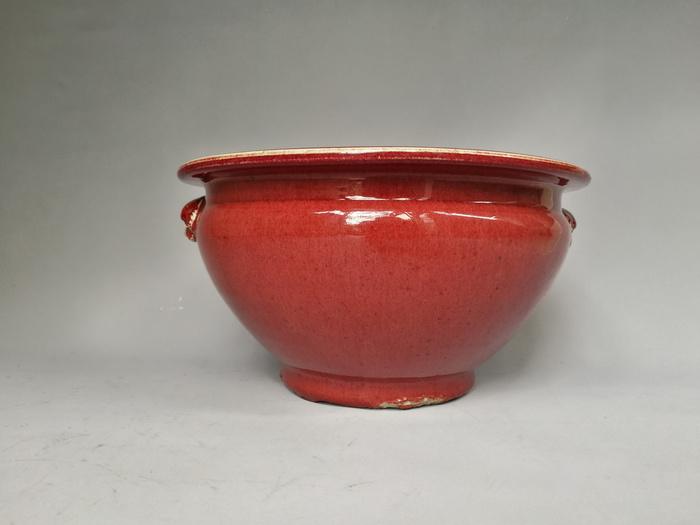 清中期 红釉双狮耳香炉图2