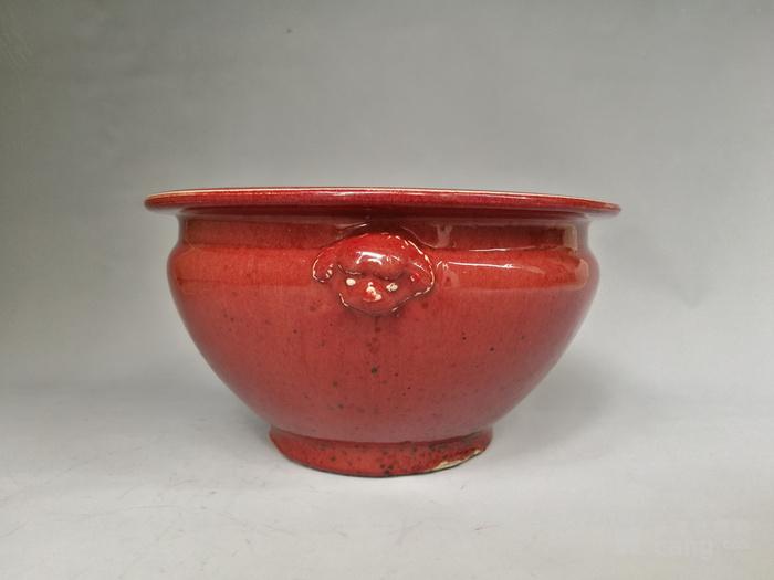 清中期 红釉双狮耳香炉图4