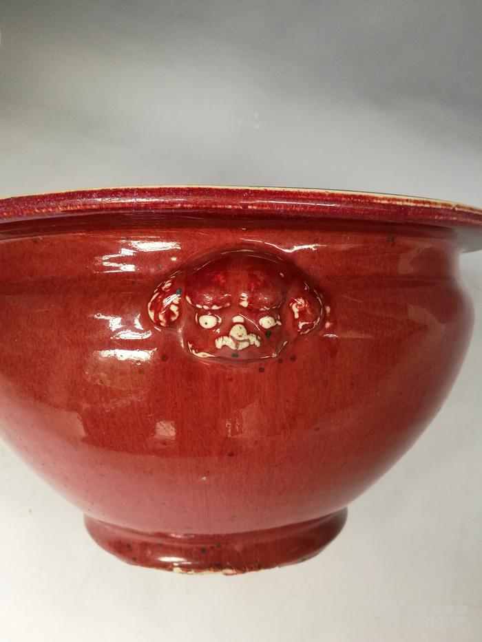 清中期 红釉双狮耳香炉图5
