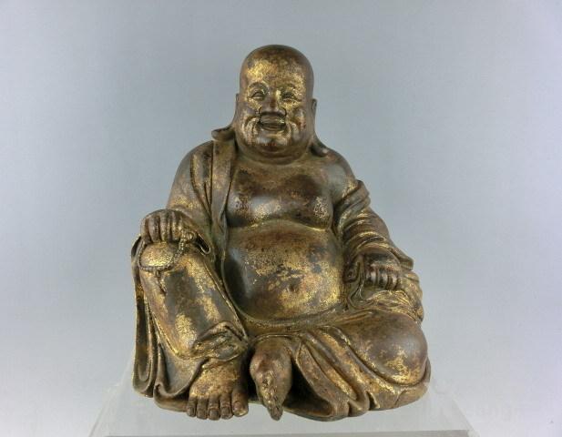 清代铜漆金弥勒佛图1