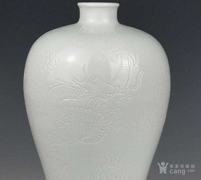 海外回流 清代白釉刻海水龙纹梅瓶图5